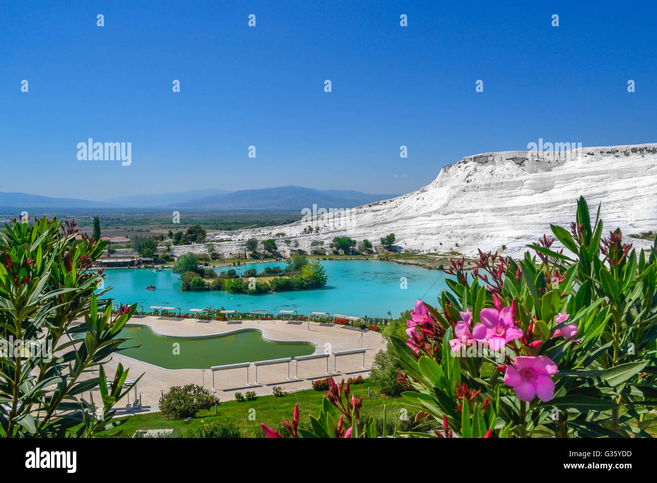 Turkey, Pamukkale, travel, amazing view, white, mineral bath, pink flowers, blue water, hot springs, landscape, - Stock Image