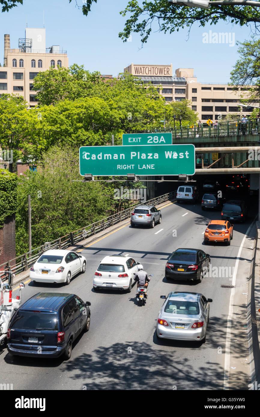 Interstate 278, The BQE, Brooklyn, NYC, USA - Stock Image