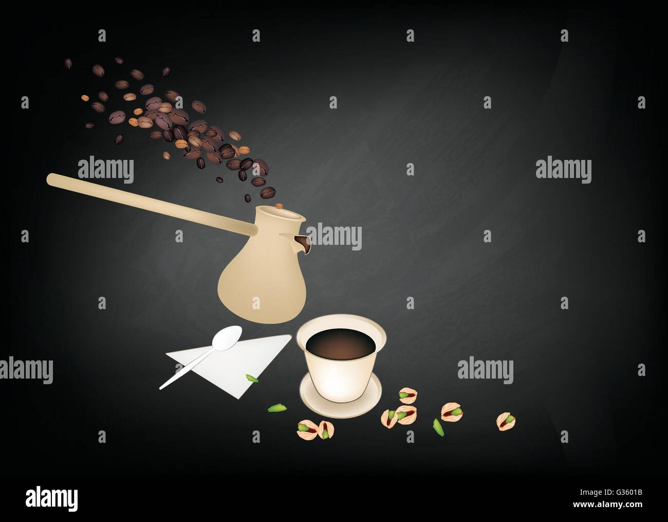 Turkish Cuisine, Turkish Coffee with Cezve or Turkish Coffee Pot on Chalkboard. One of The Popular Drink in Turkey. - Stock Vector