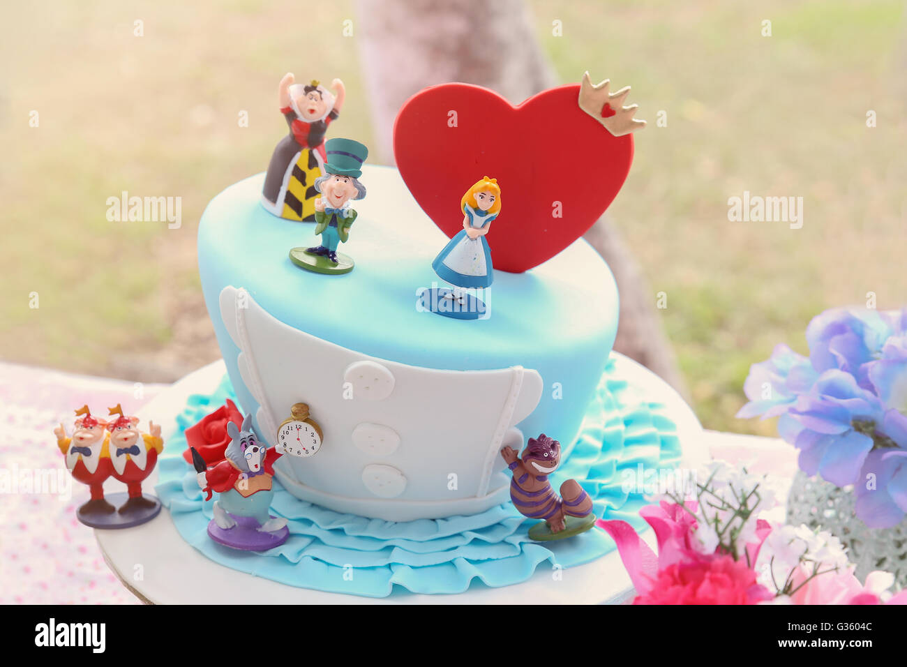 Mad Hatters Cake Alice In Wonderland Tea Party Toning Stock Photo