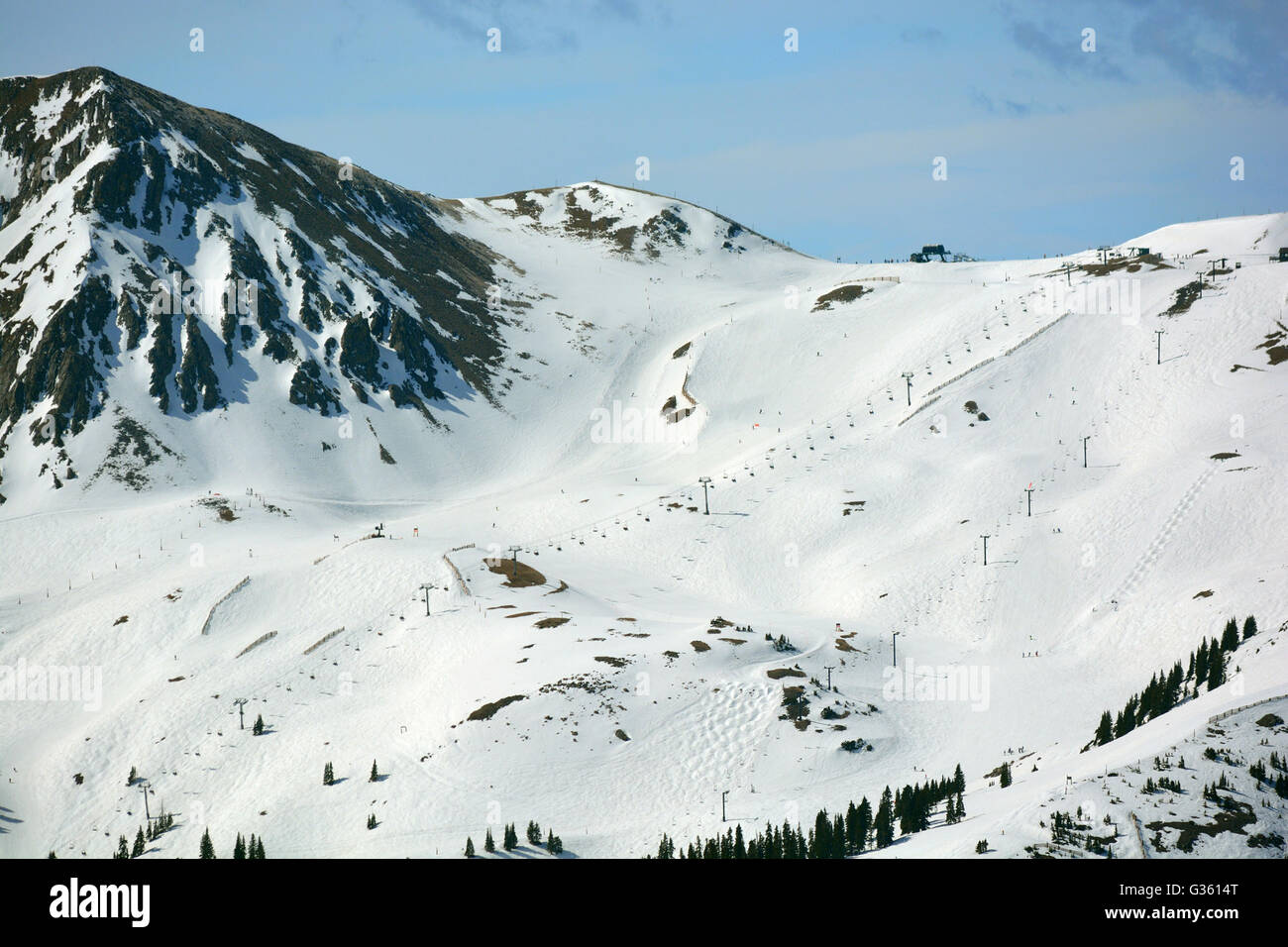 Snow Covered Ski Resort from Far Away - Stock Image