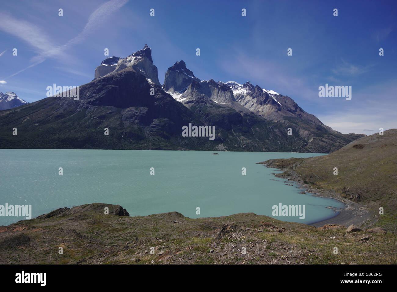 Cuernos del Paine and Lago Nordenskjöld from Mirador Cuernos, Torres del Paine National Park, Chile - Stock Image