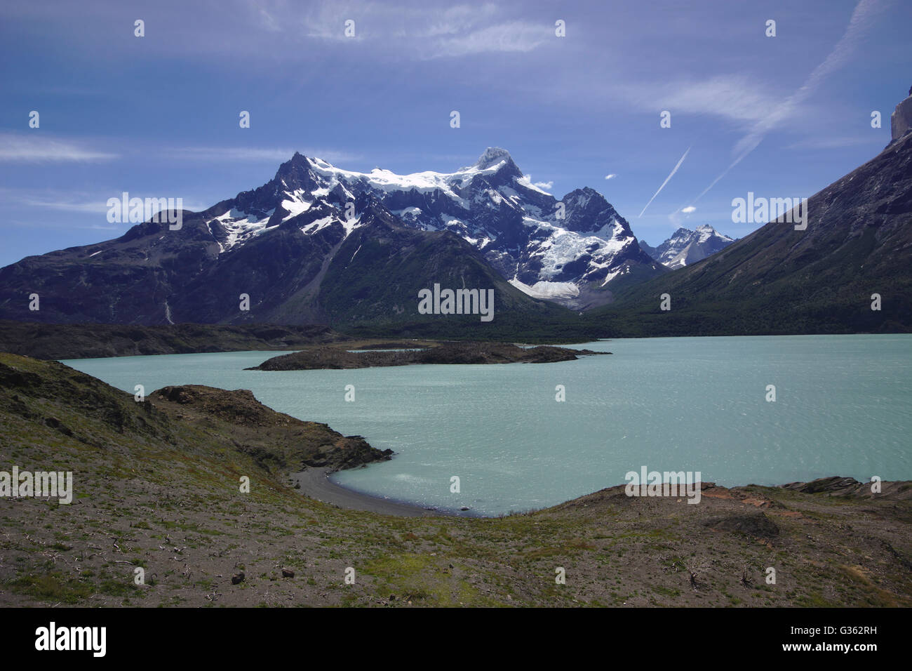 Paine Grande and Lago Nordenskjöld from Mirador Cuernos, Torres del Paine National Park, Chile - Stock Image