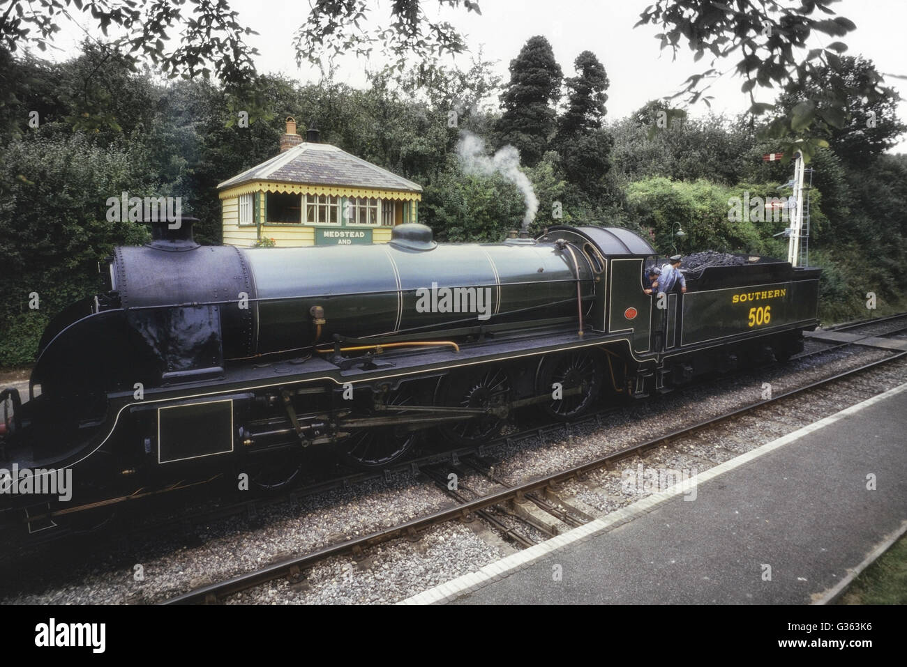 Urie S15 No. 506 at Medstead & Four Marks station. Mid-Hants Railway Watercress steam line. Hampshire. England. - Stock Image
