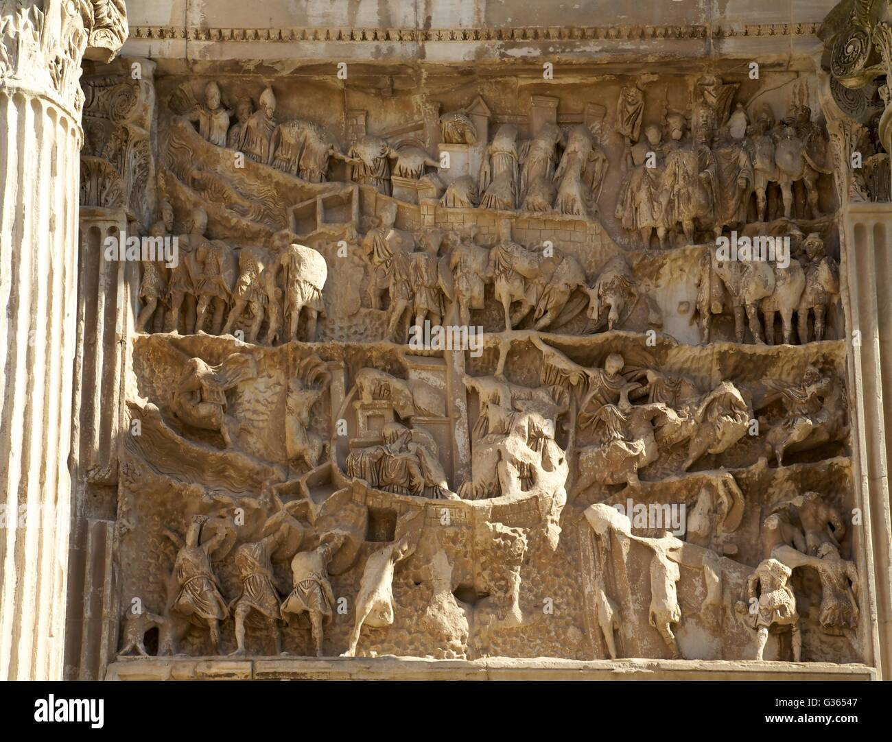 Relief carvings, Triumphal Arch of Septimius Severus, Roman Forum, Rome, Italy, Europe - Stock Image