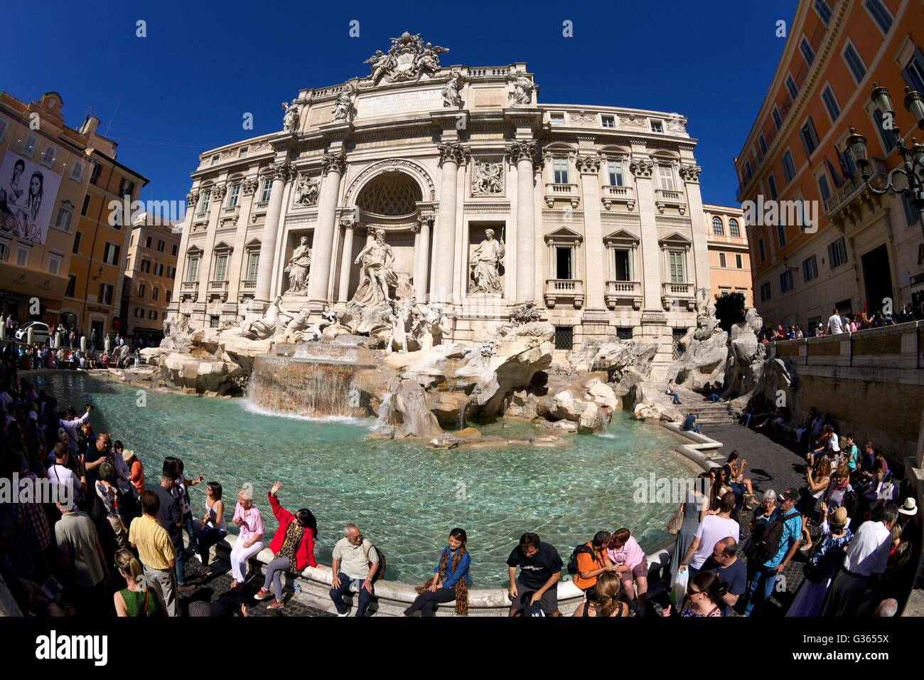 Crowds of tourists at the Trevi Fountain, Rome, Italy, Europe Stock Photo