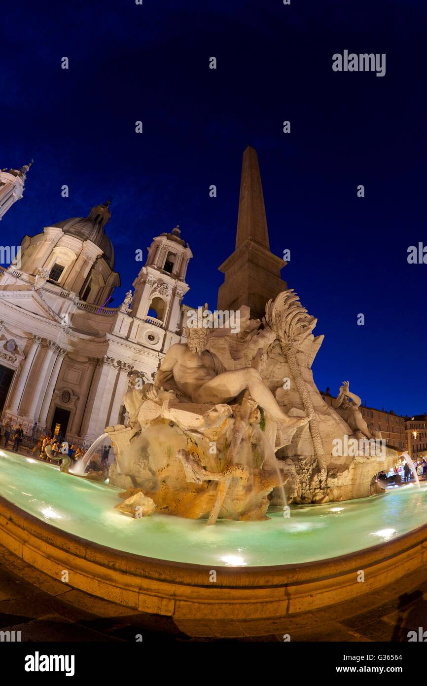 Fountain of the Four Rivers, Piazza Navona, Rome, Italy, Europe - Stock Image