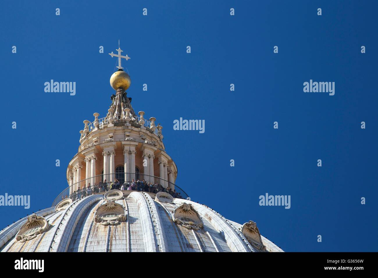 Exterior rooftop view of dome of St Peter's Cathedral, Vatican, Rome, Italy, Europe - Stock Image
