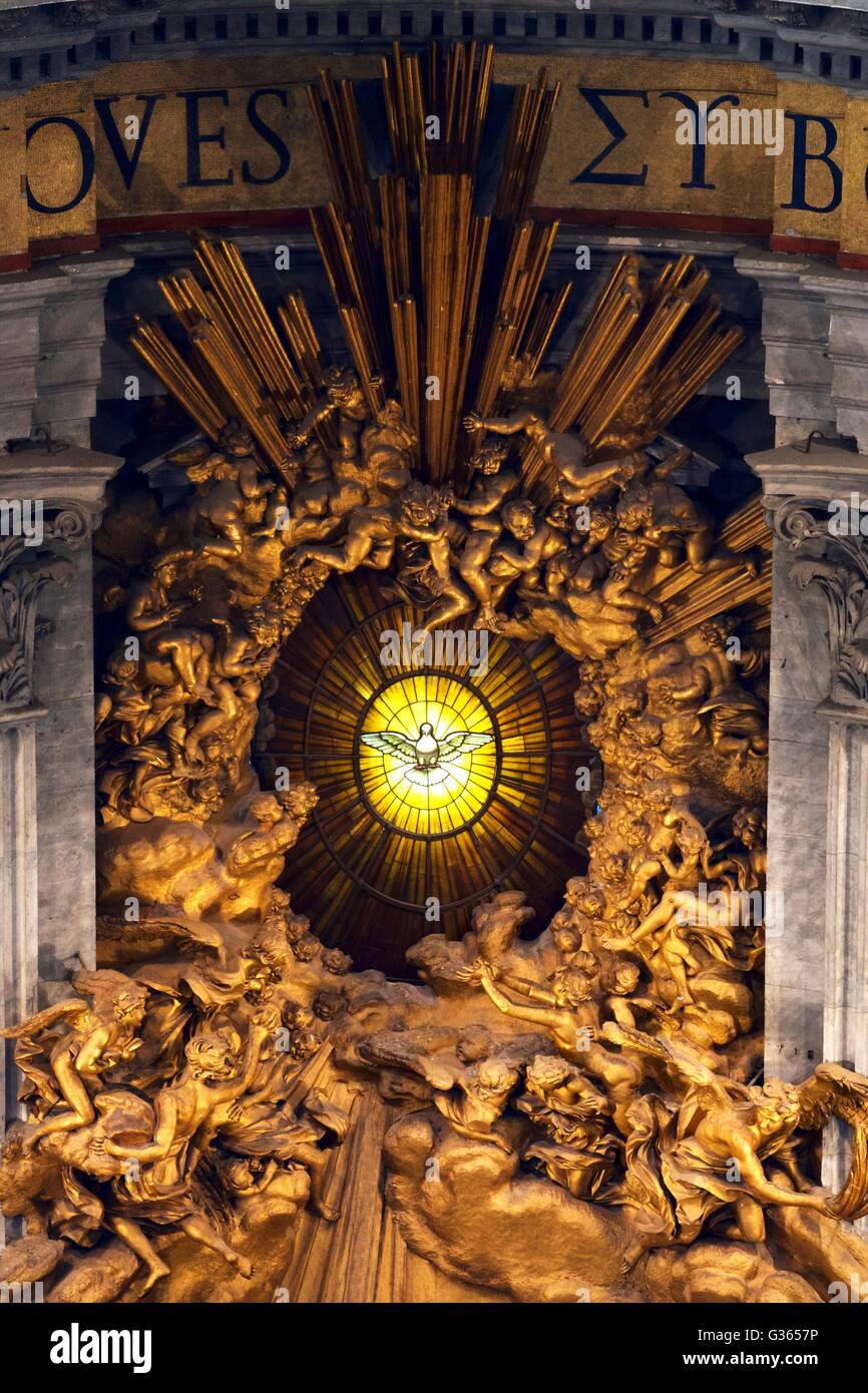 Throne of St Peter in Glory, by Bernini, Interior of St Peter's Cathedral, Vatican, Rome, Italy, Europe - Stock Image