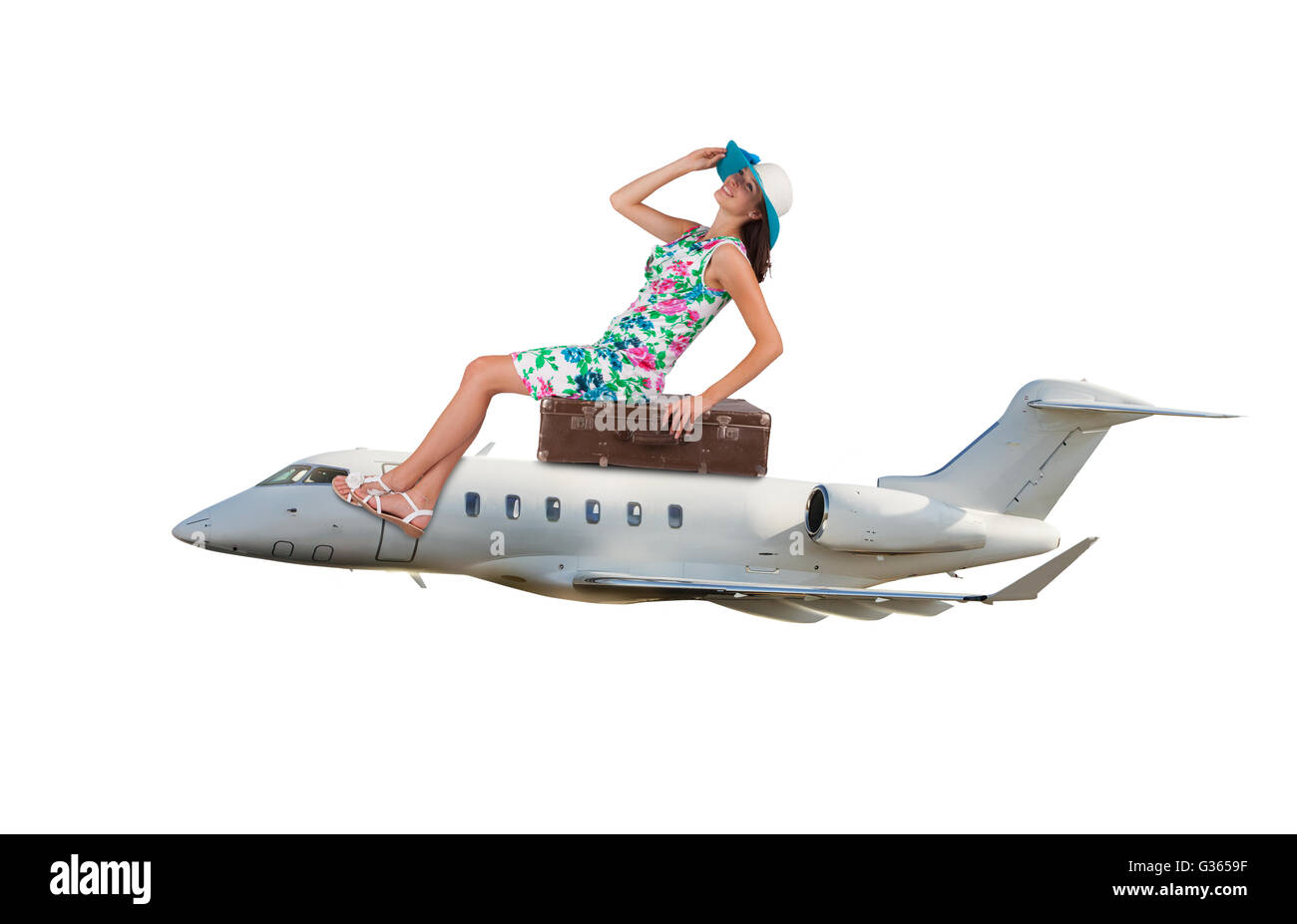 Young woman sitting on airplane,isolated on white background. Concept of traveling and summer vacation - Stock Image