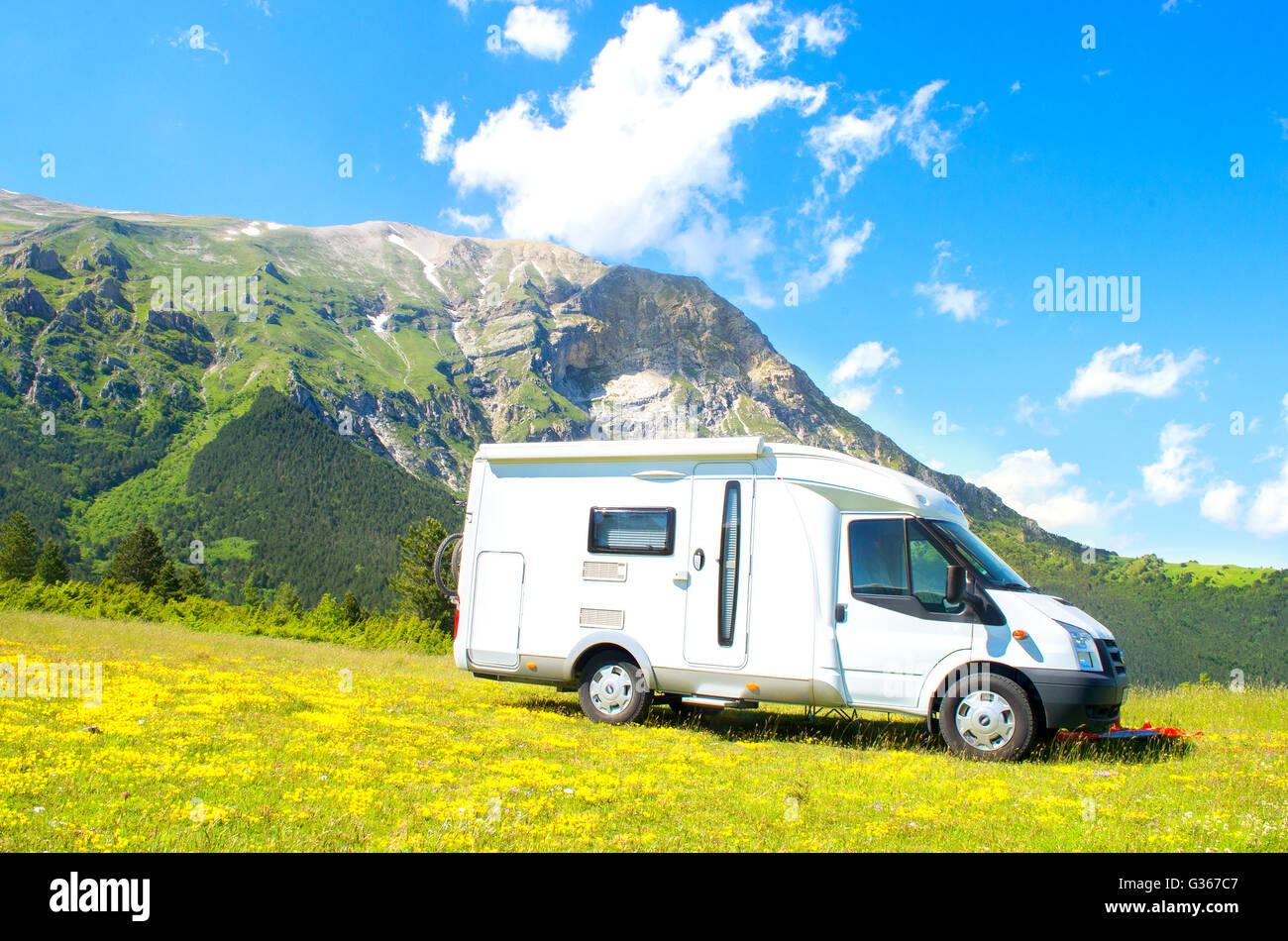 camper mountain summer trip - Stock Image
