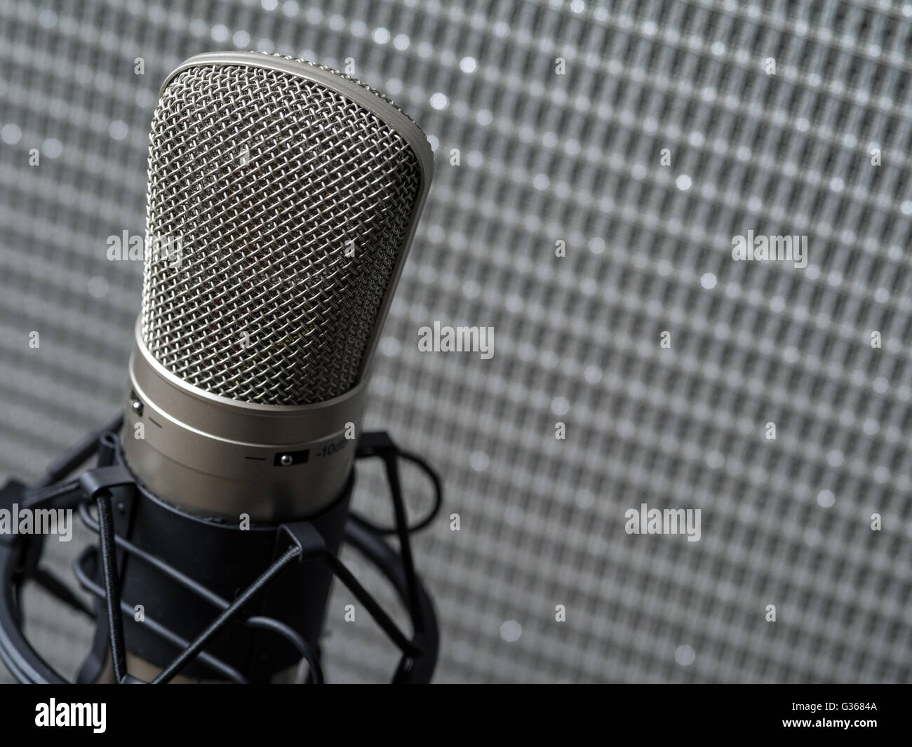 Photo of a large diaphragm studio condenser microphone in a shock mount in front of a guitar speaker cabinet. - Stock Image