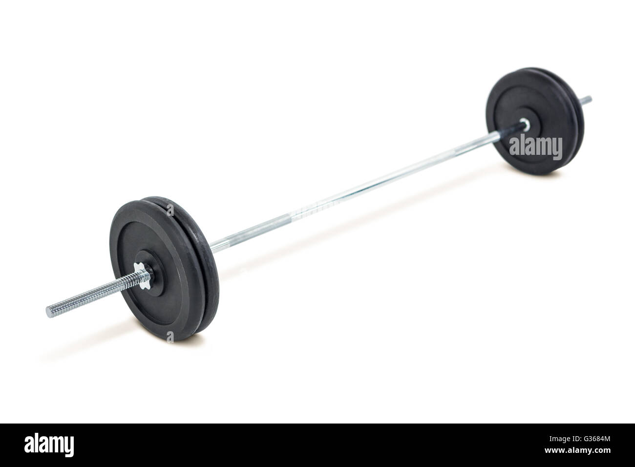 Barbell weights on white background - Stock Image
