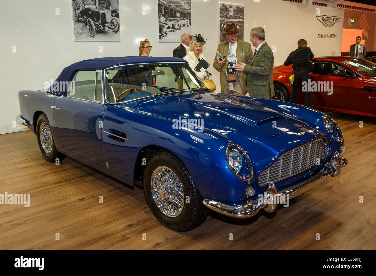 The eye-catching blue Aston Martin DB5 Convertible on display at the Motor Show, 2015 Goodwood Revival, Sussex, - Stock Image