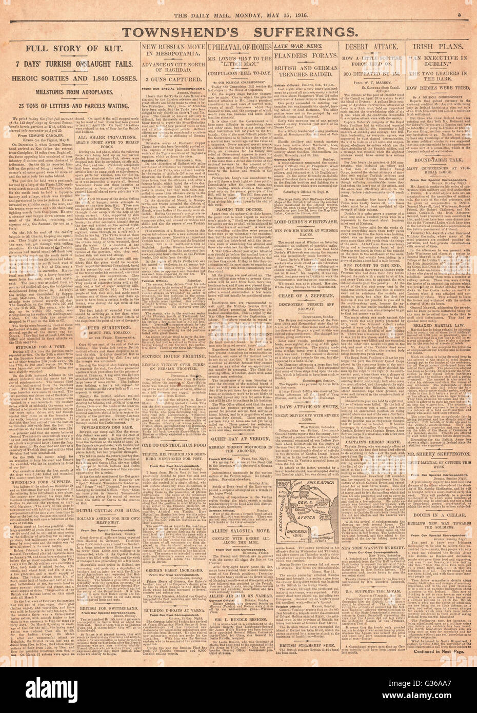 1916 Daily Mail page 5 British army defeat at Kut - Stock Image