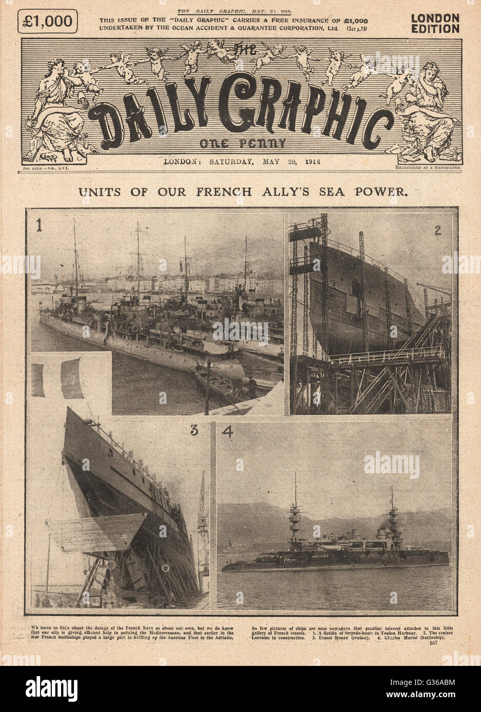 1916 Daily Graphic front page Battleships of the French Navy - Stock Image