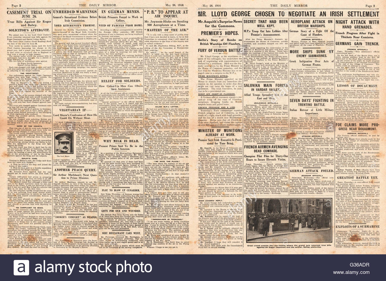 1916 Daily Mirror pages 2 & 3 Lloyd-George hopes of an Irish settlement and Battle of Verdun Stock Photo