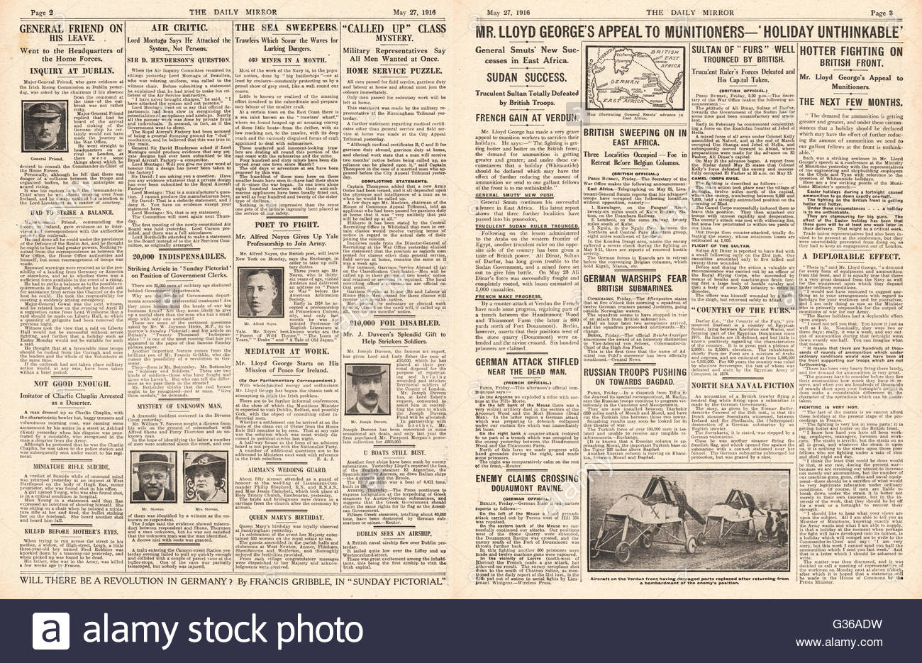 1916 Daily Mirror front page Lloyd George appeal to Munitioners not to have holidays - Stock Image