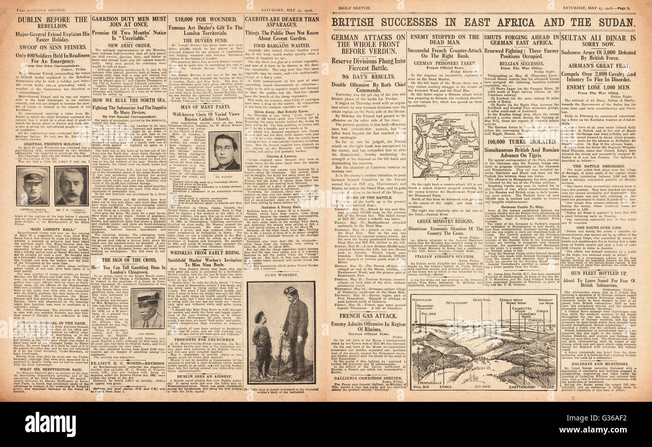 1916 Daily Sketch pages 2 & 3 British army success in East Africa and Sudan Stock Photo