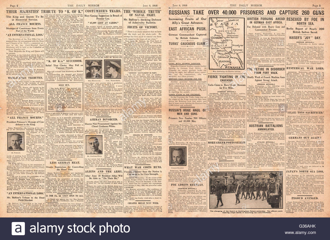 1916  Daily Mirror pages 2 & 3 Russian Army advance on Romania - Stock Image