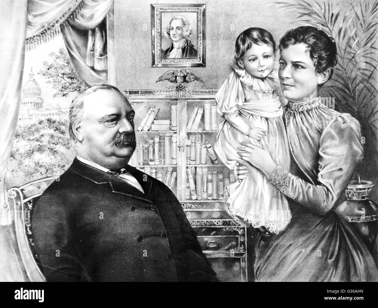 President Grover Cleveland 1837 1908 And Family At Their