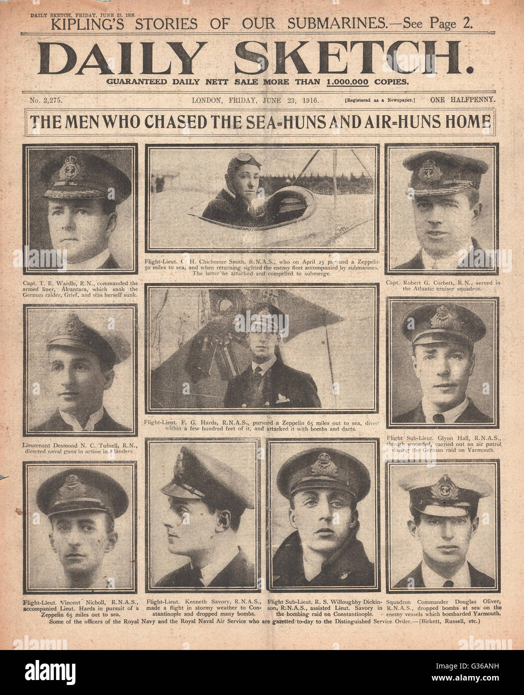 1916 Daily Sketch front page Officers of the Royal Navy and Royal Naval Air Service Stock Photo