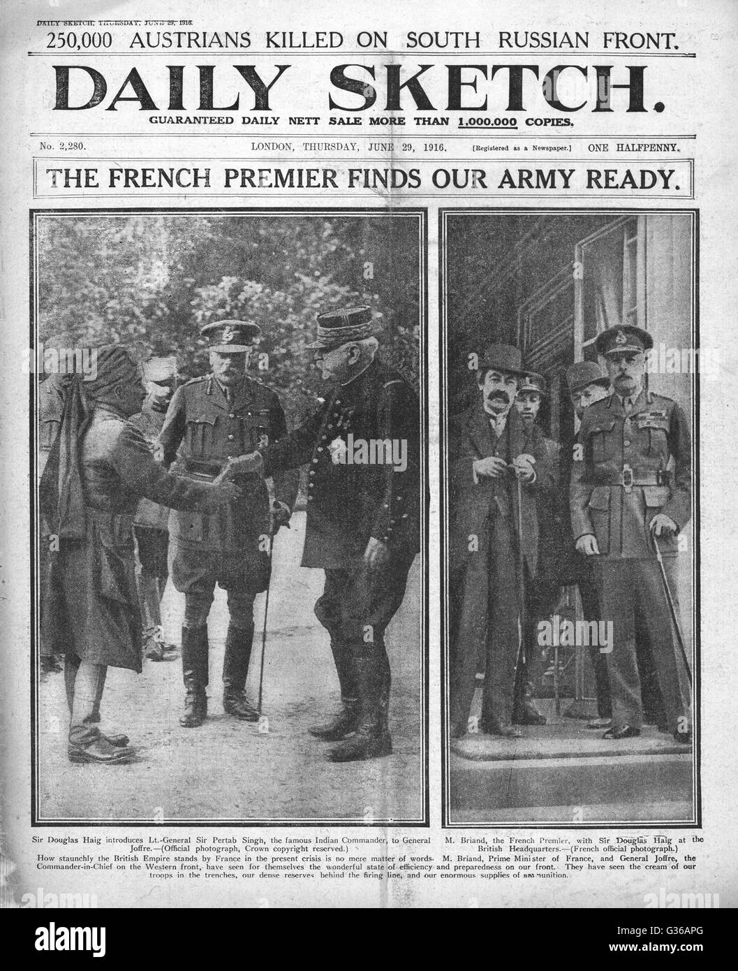 1916 Daily Sketch front page French Premier Aristide Briand at British HQ in France, with Field Marshal Haig, General - Stock Image