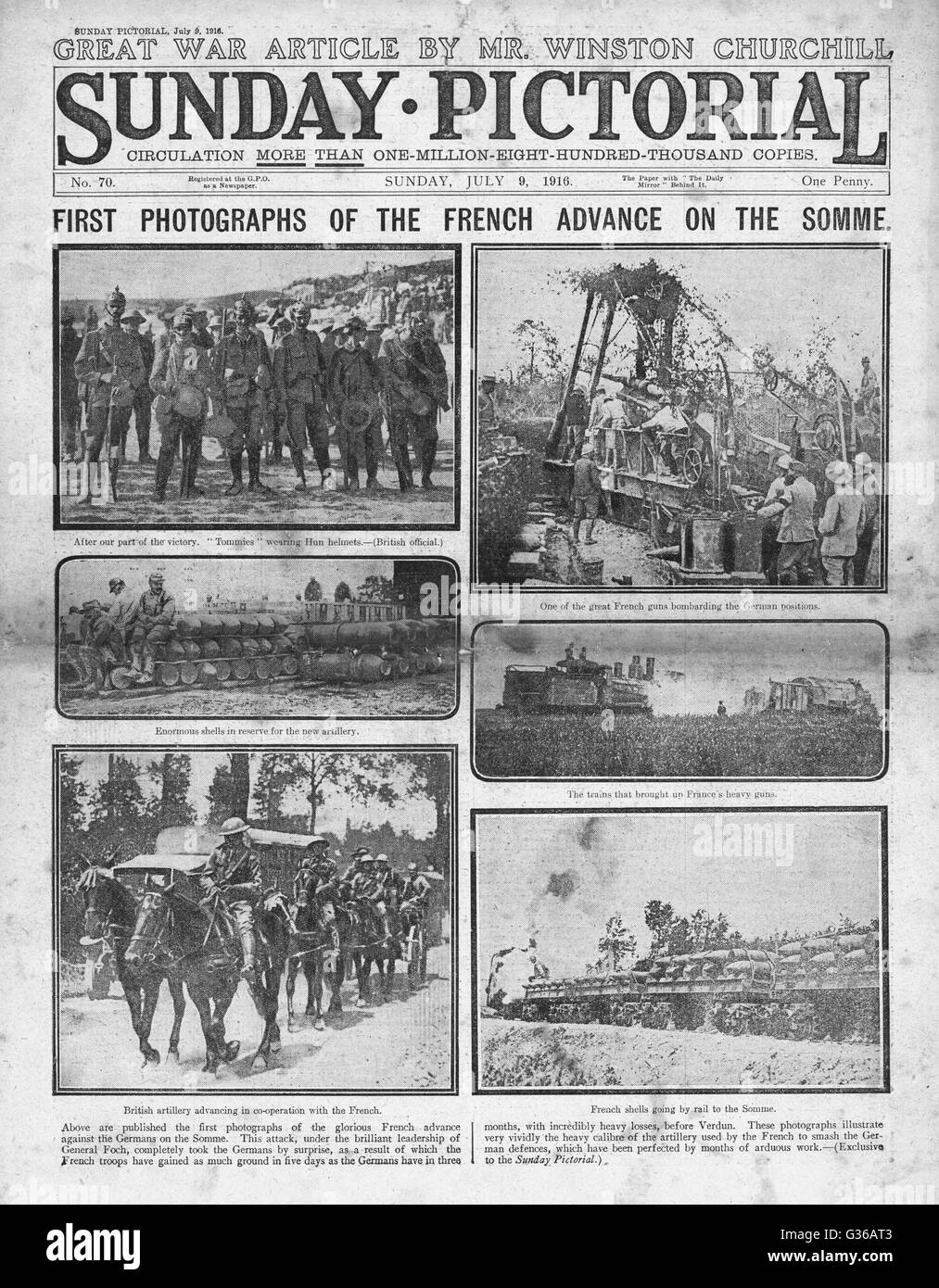 1916 Sunday Pictorial front page French troops advance on the Somme - Stock Image