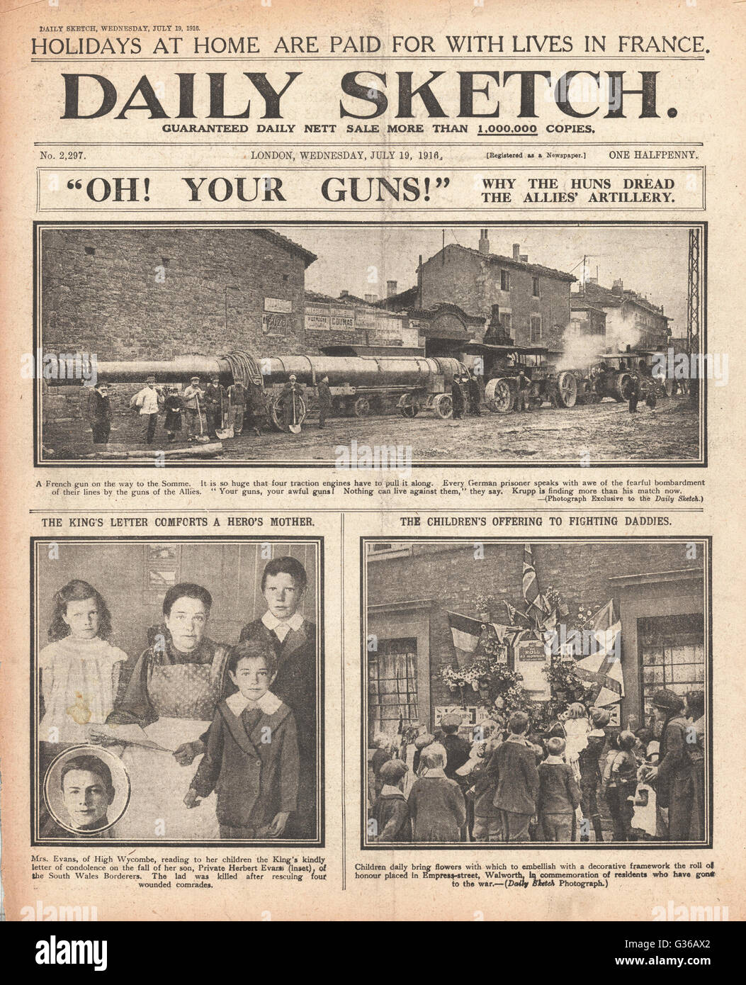 1916 Daily Sketch front page French artillery gun for the Somme - Stock Image
