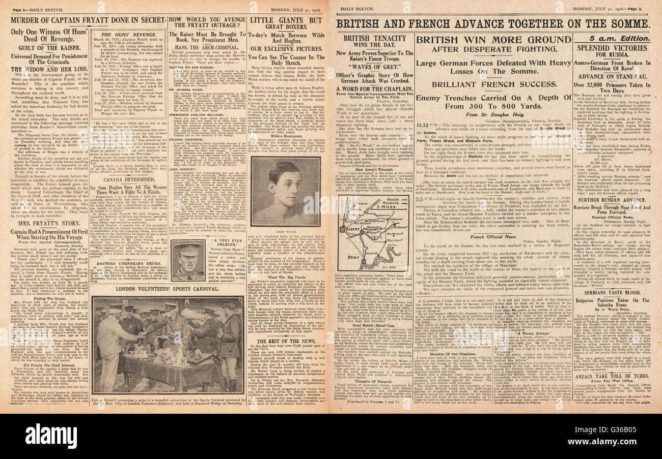 1916 Daily Sketch pages 2 & 3 French and British advance on the Somme - Stock Image