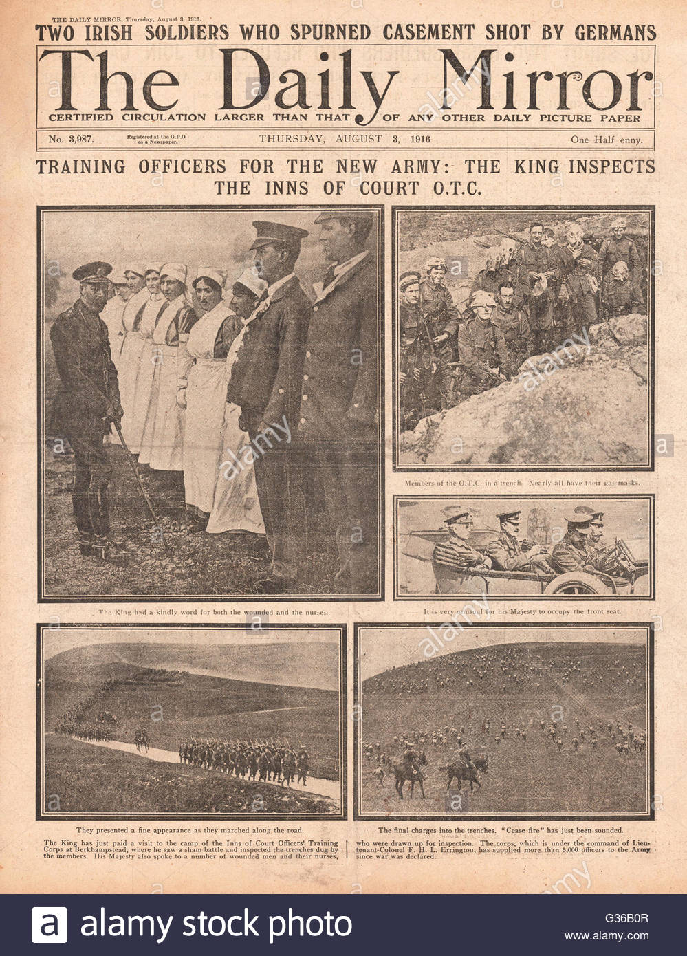1916 Daily Mirror front page King George V visits Inns of Court Officers Training Corps - Stock Image