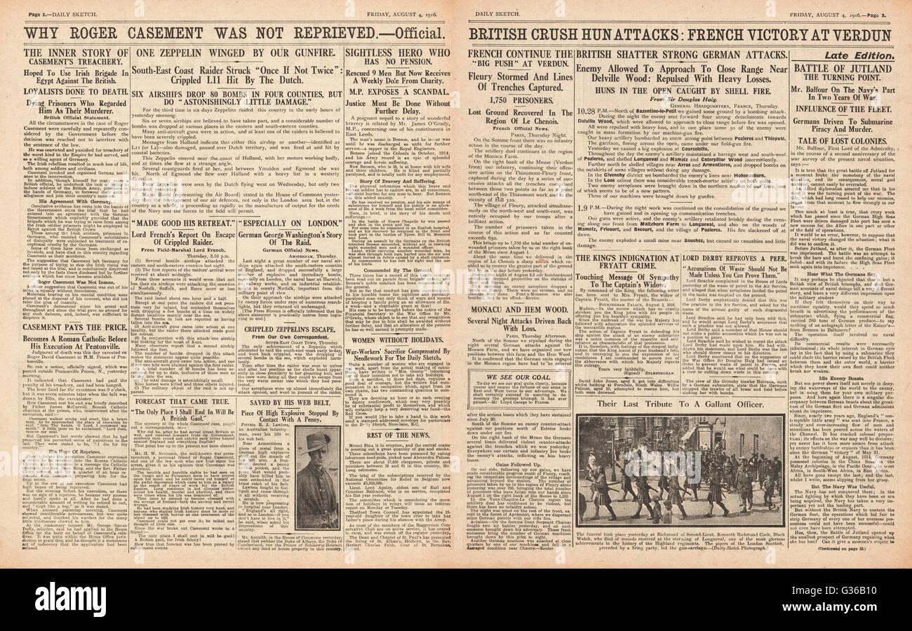 1916 Daily Sketch pages 2 & 3 French victory at Verdun, zeppelin raid over Eastern counties, and execution of - Stock Image