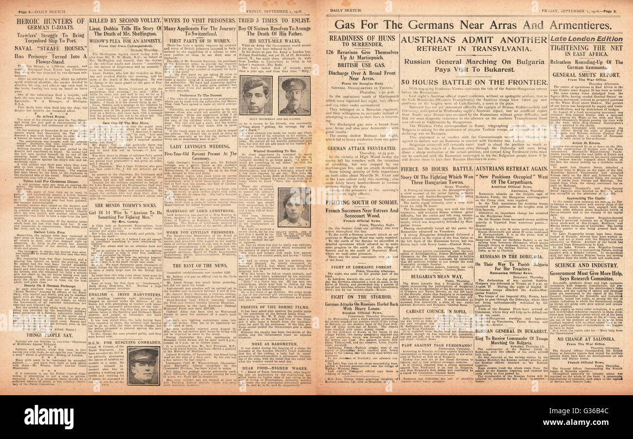 1916 Daily Sketch pages 2 & 3 British use gas against German army and Austrian army retreat in Transylvania - Stock Image