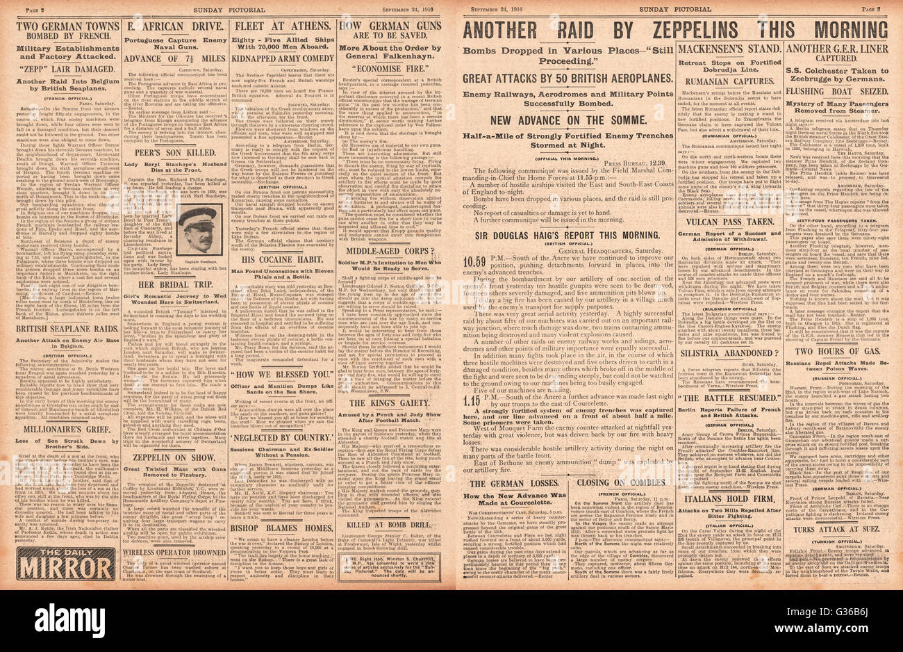 1916 Sunday Pictorial pages 2 & 3 Zeppelin raid over England and British victory at Ginchy - Stock Image