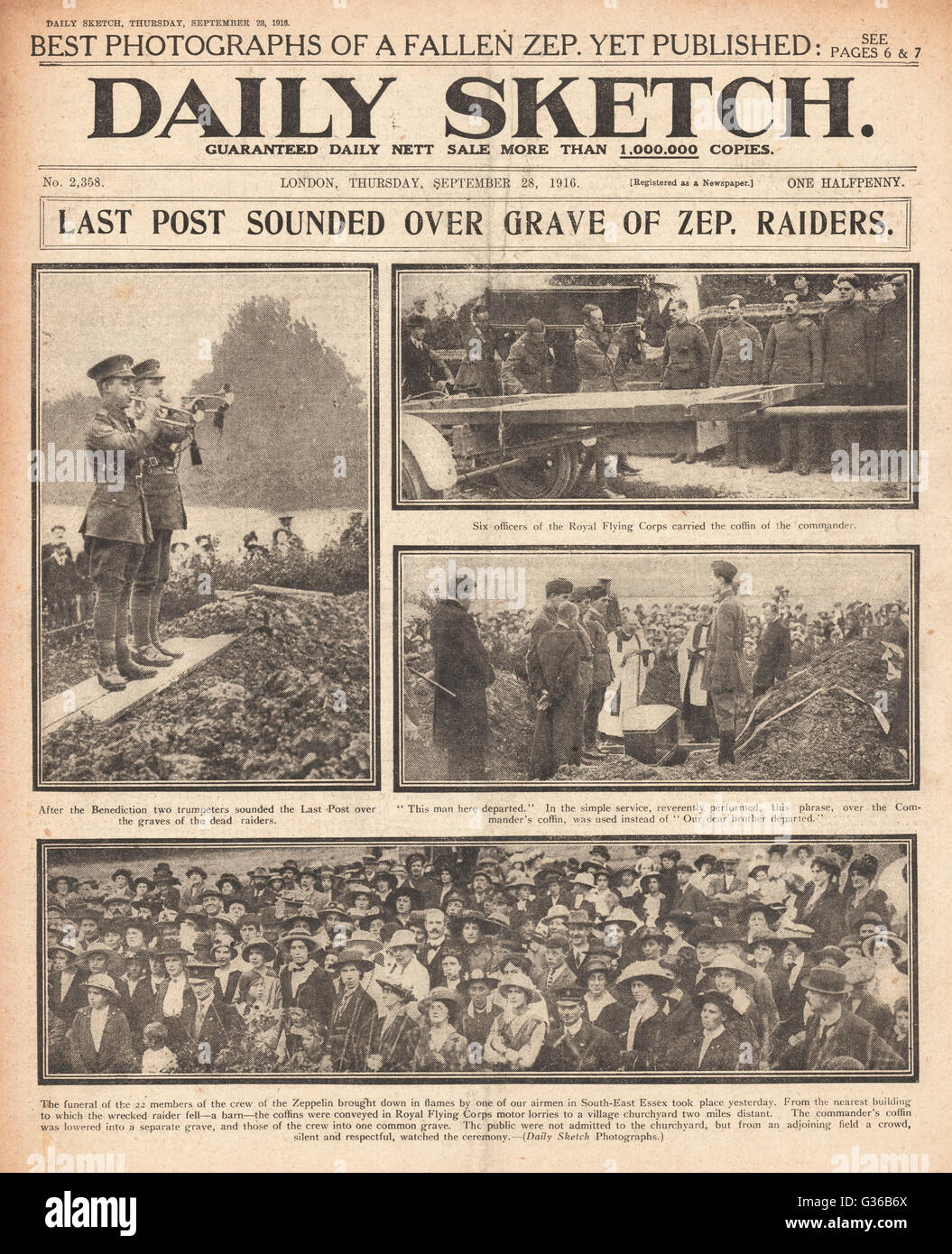 1916 Daily Sketch front page Funeral of zeppelin L 32's crew