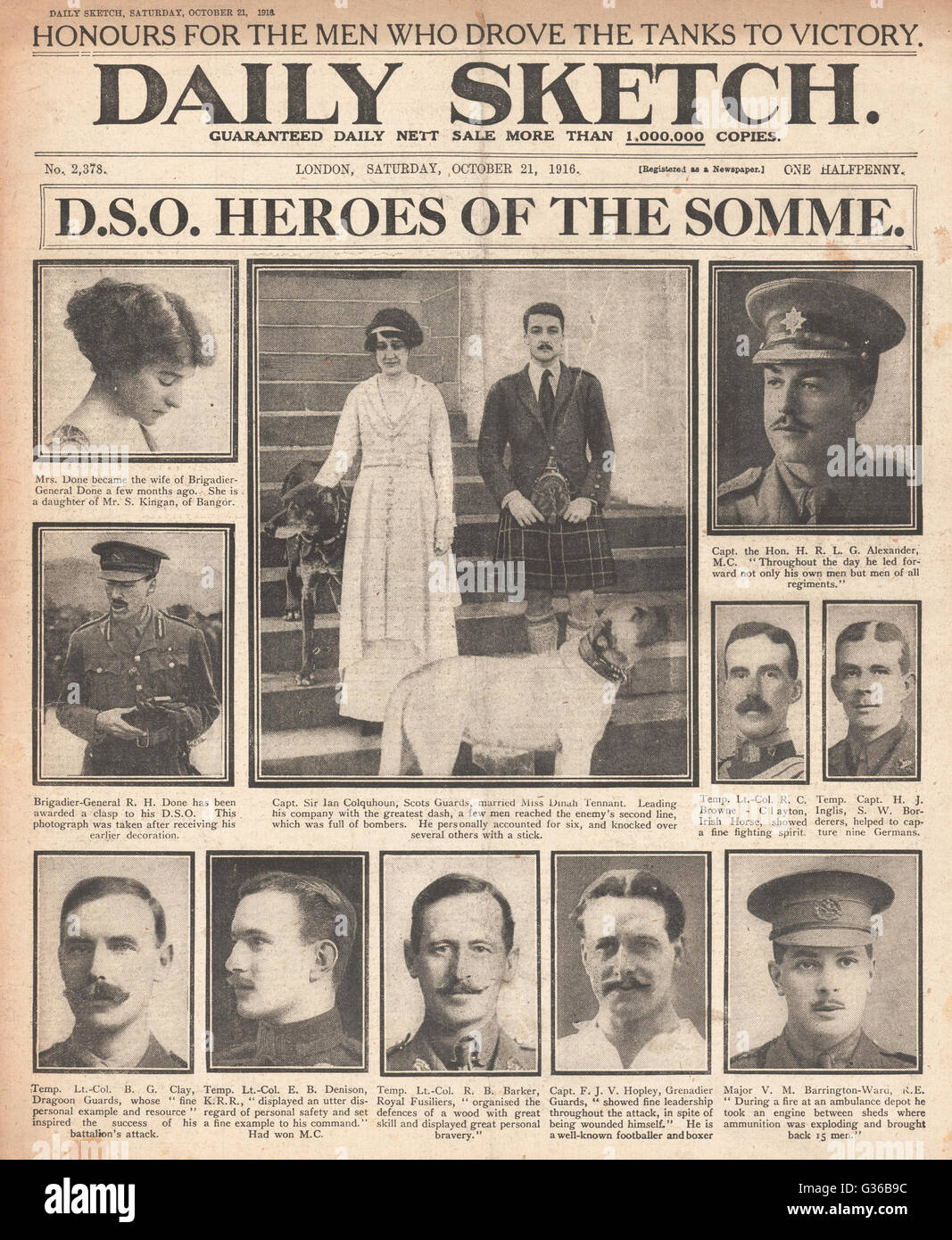 Daily Sketch front page Honours for Battle of the Somme heroes Stock Photo