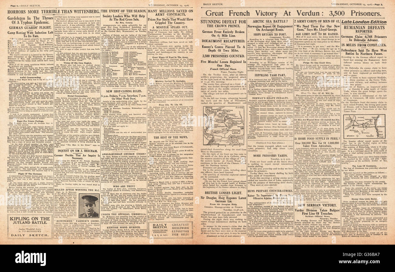 1916 Daily Sketch pages 2 & 3 French victory at Verdun and appalling revelations at German internment camps - Stock Image
