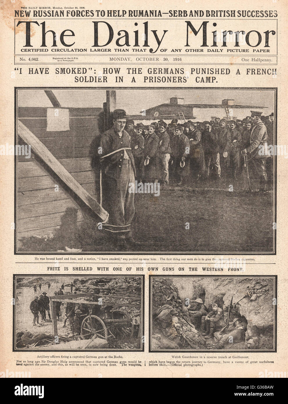 1916 Daily Sketch front page French POW punished in German prison camp Stock Photo