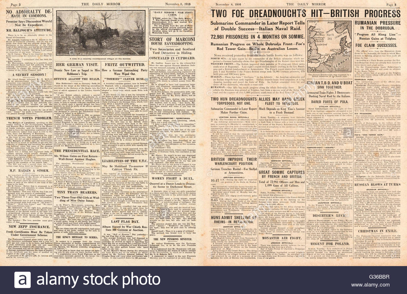 1916 Daily Mirror pages 2 & 3 German dreadnought class battleships hit by British submarine - Stock Image
