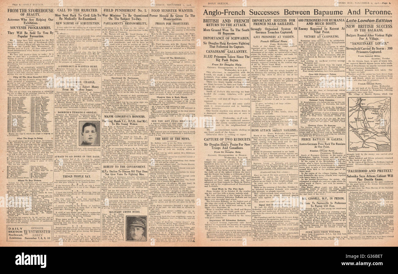 1916 Daily Sketch pages 2 & 3 British and French success on the Somme - Stock Image