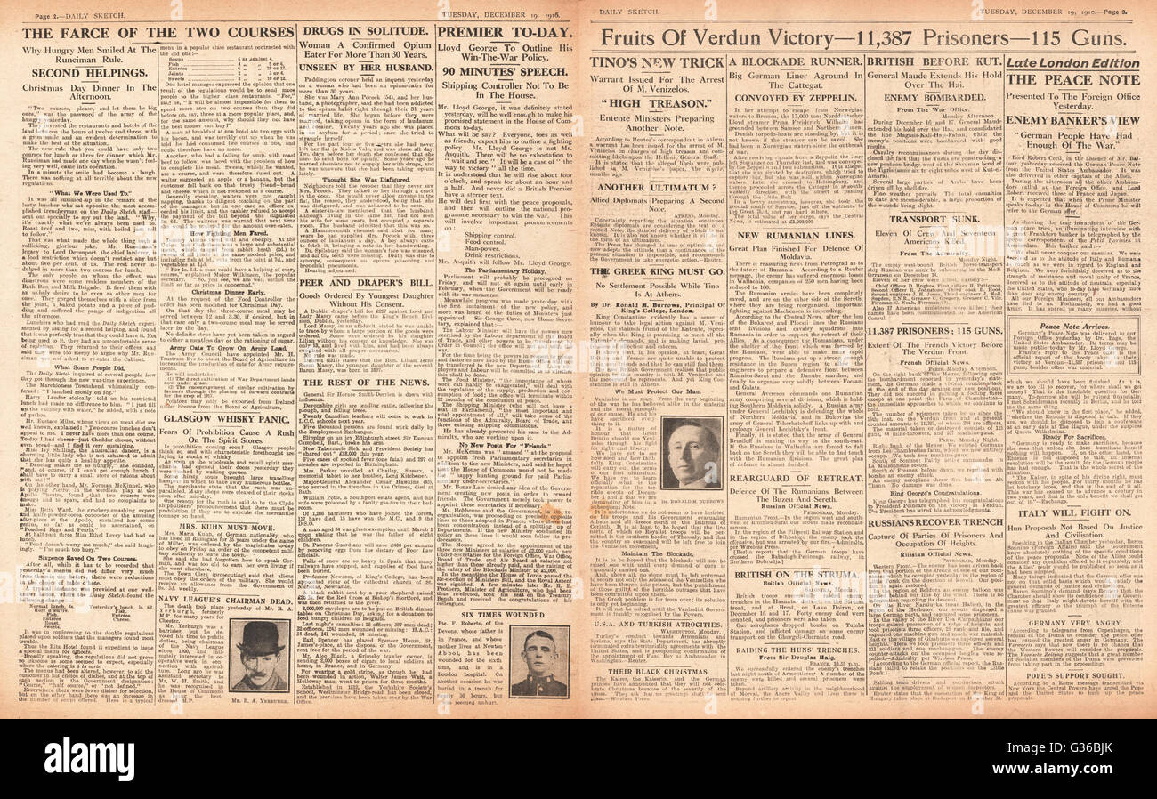 1916 Daily Sketch pages 2 & 3  French victory at Verdun - Stock Image