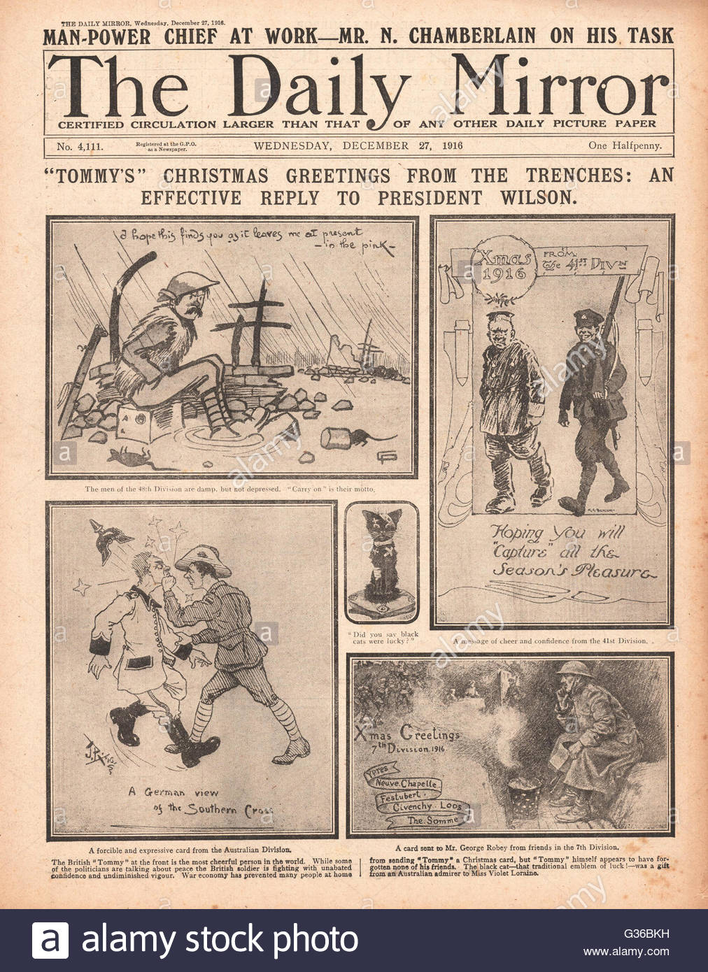 1916 Daily Mirror front page Soldiers send Christmas cards from the ...