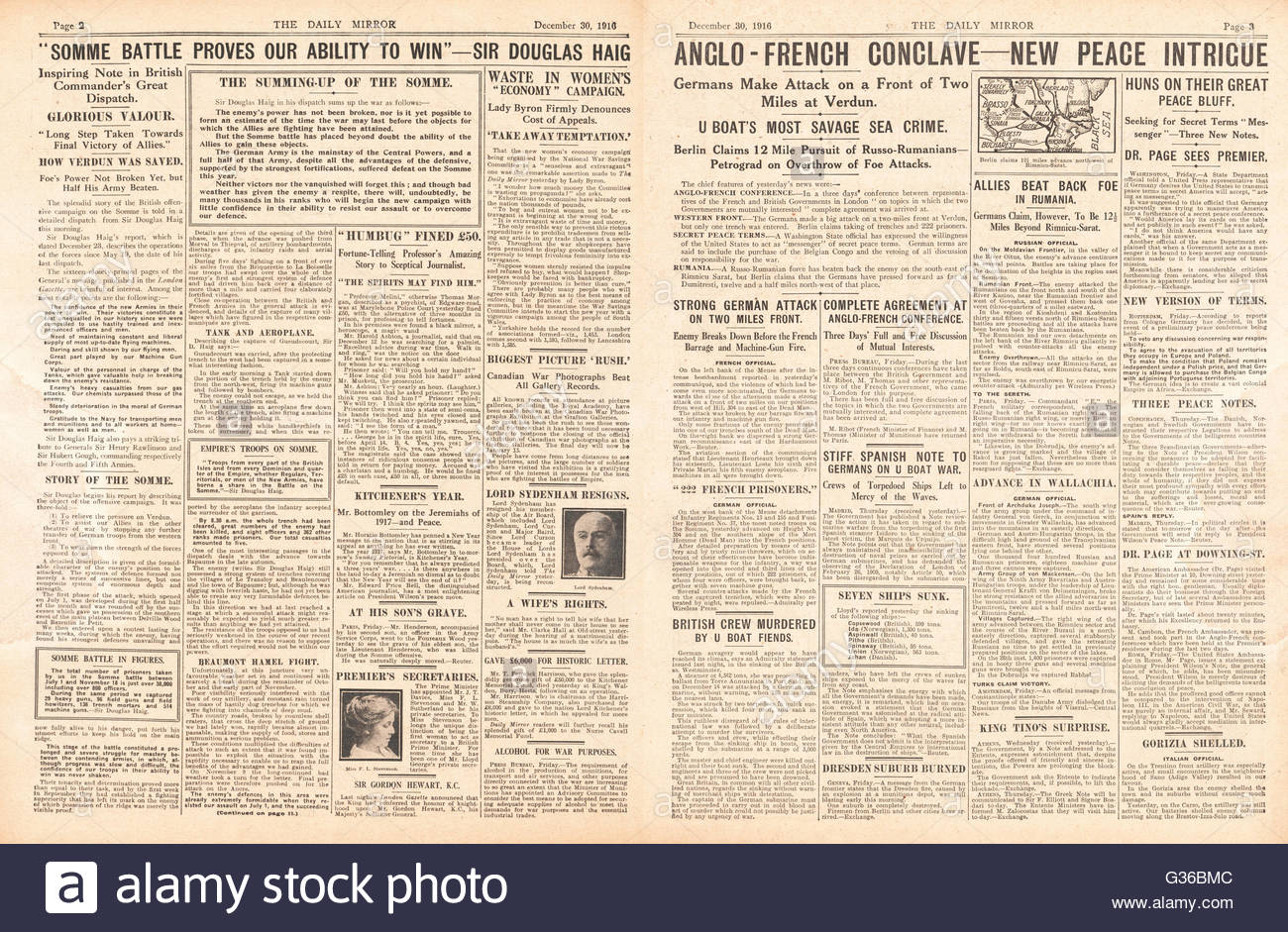 1916 Daily Mirror pages 2 & 3 Haig reports of success on the Somme and Anglo-French talks in London - Stock Image