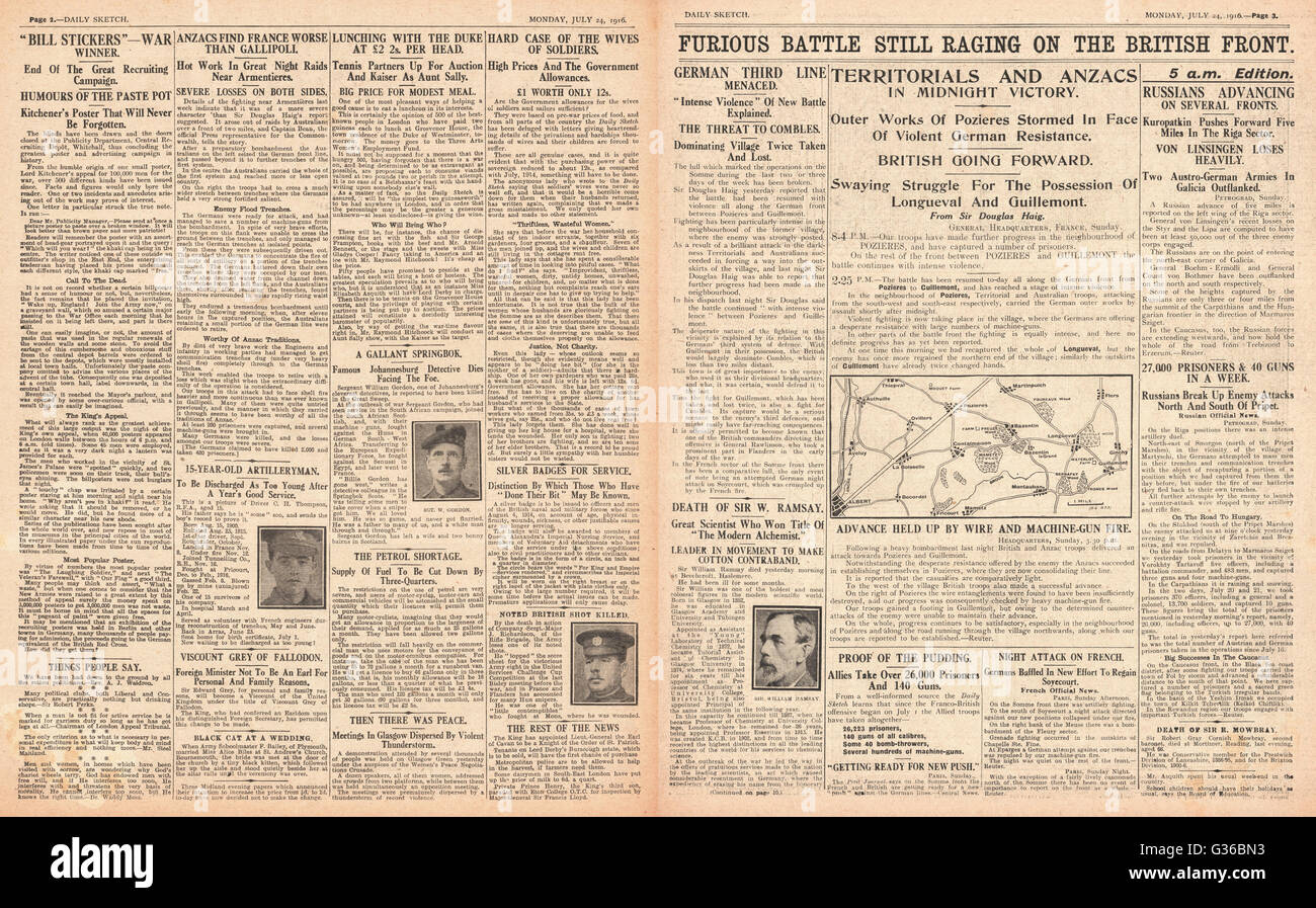 1916 Daily Sketch pages 2 & 3 British and French advance on the Somme - Stock Image