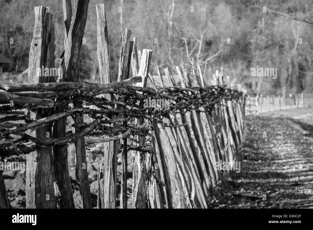 Old time wooden fence and country road. Black and white. - Stock Image
