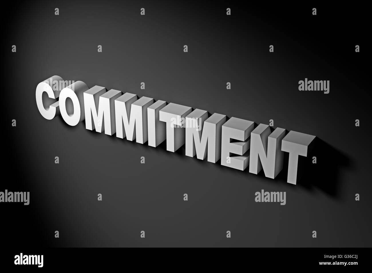 Commitment concept illustrated by 3D rendered texts. - Stock Image