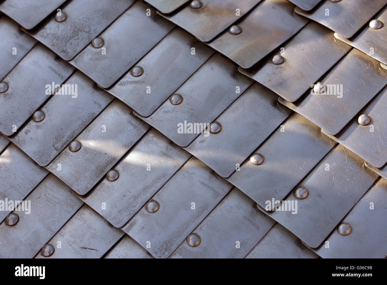 Fighting Protection of ancient warrior - chainmail of metallic plates - Stock Image
