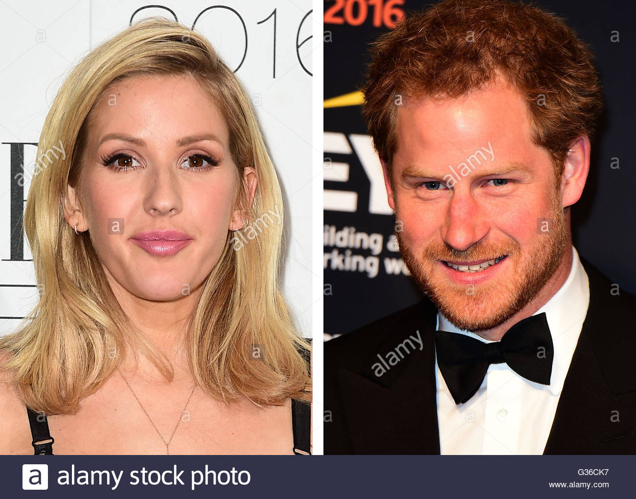 File photos of Ellie Goulding and Prince Harry, as rumours that they are dating have seen bookmakers publishing Stock Photo