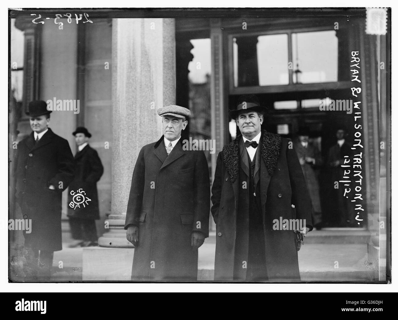 Democratic President-elect Woodrow Wilson and prominent Democrat William Jennings Bryan pose together in Trenton, - Stock Image
