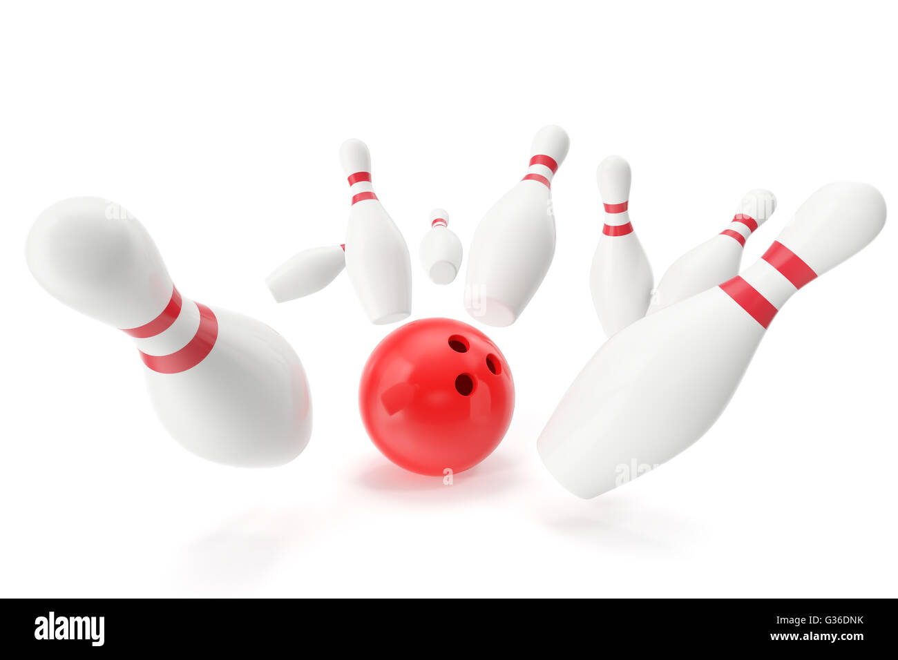 Bowling game, red ball crashing into the skittles. 3d illustration - Stock Image